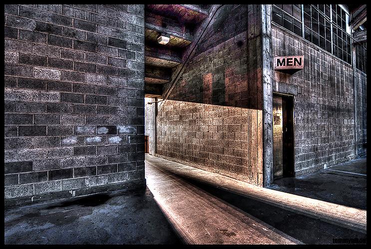 Men's room, beneath Memorial Stadium, Tonemapped