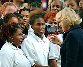 Washington, D.C. - November 2, 2005 -- Camilla, the Duchess of Cornwall, speaks with students as she works a rope line during her visit to the School of Education Evolution and Development (SEED) School in Washington, D.C. on November 2, 2005.  The SEED School is a public charter boarding school..Credit: Ron Sachs / CNP.(Restriction: No New York Metro or other Newspapers within a 75 mile radius of New York City)