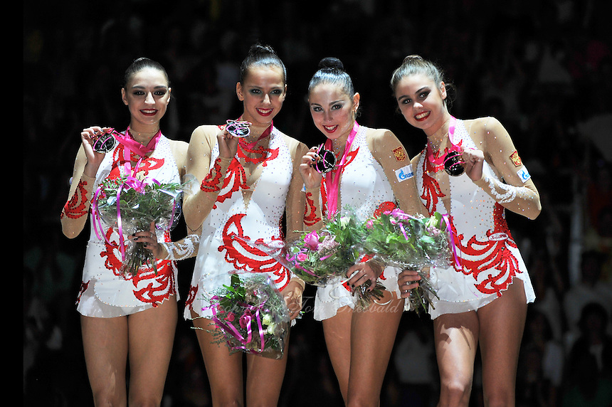 September 22, 2011; Montpellier, France;  Russia  (L-R) EVGENIYA KANAEVA, DARIA DMITRIEVA, DARIA KONDAKOVA, ALEXANDRA MERKULOVA are team gold winners at 2011 World Championships.