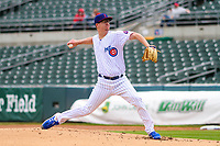 Iowa Cubs pitcher Alec Mills (9) delivers a pitch during a Pacific Coast League game against the San Antonio Missions on May 2, 2019 at Principal Park in Des Moines, Iowa. Iowa defeated San Antonio 8-6. (Brad Krause/Four Seam Images)