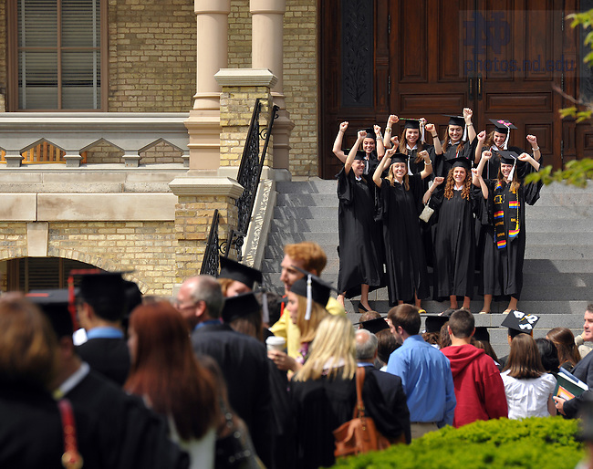 2010 Graduates line up to be photographed on the steps of the Main Building after Commencment ceremonies May 16, 2010...Photo by Matt Cashore/University of Notre Dame