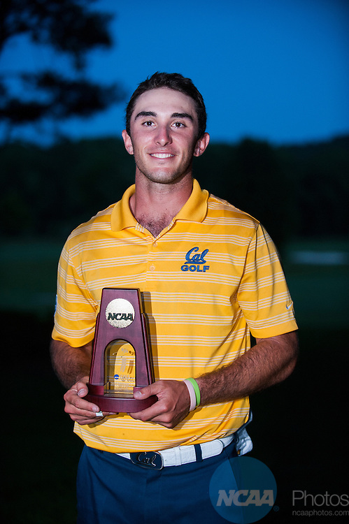 30 MAY 2013:  Max Homa of the University of California after winning the Division I Men's Golf Championship held at the Capital City Club's Crabapple Course in Milton, GA.  Homa won the individual national title with a -9 score.  Jason Parkhurst/NCAA Photos