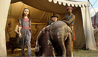 Danny DeVito &amp; Nico Parker<br /> Dumbo (2019) <br /> *Filmstill - Editorial Use Only*<br /> CAP/RFS<br /> Image supplied by Capital Pictures