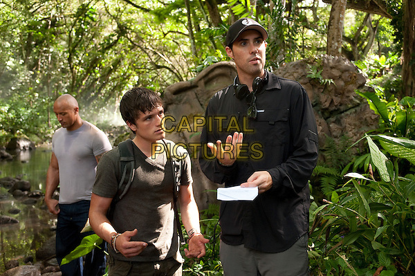 "DWAYNE ""THE ROCK"" JOHNSON, JOSH HUTCHERSON and director BRAD PEYTON .on the set of Journey 2: The Mysterious Island.*Filmstill - Editorial Use Only*.CAP/FB.Supplied by Capital Pictures."