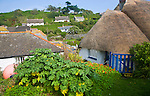 Thatched cottages in the historic and attractive fishing village of Cadgwith Cove on the Lizard Peninsula, Cornwall, England