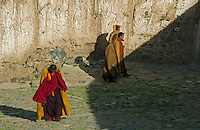 Tibet Monastery Monks from the Gelupa (Yellow Hat) Sect and the Fifth Dalai Lama at a Monastery, Tibet