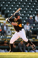 Bradenton Marauders outfielder Jonathan Schwind (13) during a game against the Palm Beach Cardinals on April 9, 2014 at McKechnie Field in Bradenton, Florida.  Palm Beach defeated Bradenton 3-1.  (Mike Janes/Four Seam Images)