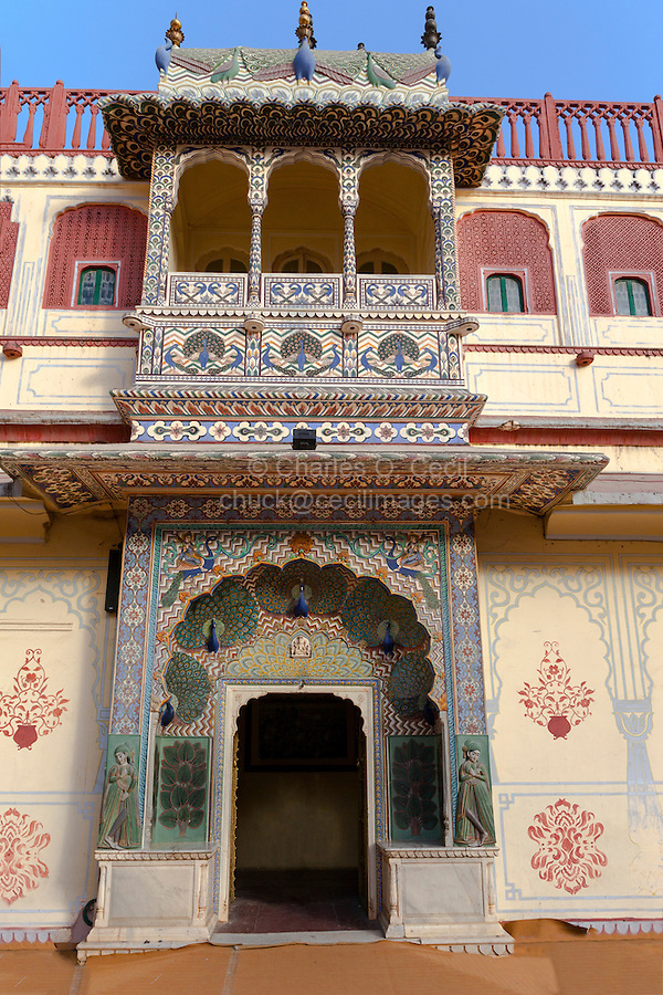 Jaipur, Rajasthan, India.  Peacock Gate in the Inner  Courtyard of the  Jaipur City Palace, Dedicated to Lord Vishnu.