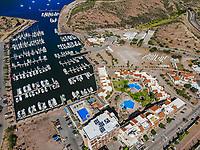 Aerial view of MarinaTerra Hotel &amp; Spa, yacht pier, boats, Tetakahui bay near the desert in San Carlos, Sonora, Mexico. Gulf of California. Sea of Cort&eacute;s. Mar Bermejo, is located between the peninsula of Baja California and the states of Sonora and Sinaloa, northwest of Mexico. Tourist destination, trips. Blue, Boats, calm. High Angle View (Photo: Luis Gutierrez / NortePhoto.com)<br /> ......<br /> Vista aerea de MarinaTerra Hotel &amp; Spa, embarcadero de yates, barcos, bahia cerro Tetakahui junto al desierto en San Carlos, Sonora, Mexico. Golfo de California. mar de Cort&eacute;s. mar Bermejo, se  ubica entre la pen&iacute;nsula de Baja California y los estados de Sonora y Sinaloa, al noroeste de M&eacute;xico. Destino turistico, viajes. Azul, Barcos, calma. High Angle View  (Photo: Luis Gutierrez / NortePhoto.com)