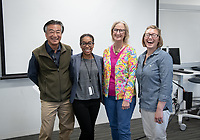 Oxy Faculty Authors in Johnson 203, Friday, June 21<br /> Recently published faculty talk about their cutting-edge research, brought to you by the Center for Research & Scholarship.<br /> Faculty members participating, from left: Jan Lin, Taking Back the Boulevard Art, Activism, and Gentrification in Los Angeles; Erica Ball, Reconsidering Roots: Race, Politics, and Memory; Nancy Dess, Gender, Sex, and Sexualities: Psychological Perspectives and moderator Kristi Upson-Saia, professor of religious studies and director of the Center for Research & Scholarship.<br /> Oxy is proud to boast a world-class faculty whose scholarship has not only earned them renown in their professions, but also invigorates the intellectual rigor of the classroom.