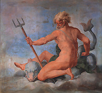 Ceiling fresco of Neptune holding his trident and riding a dolphin by Ambroise Dubois, 1542-1615, in the Galerie des Assiettes or Plate Gallery, built c. 1840 under Louis-Philippe at the Chateau de Fontainebleau, France. The early 17th century frescoes were transported here from the Diana Gallery. The Palace of Fontainebleau is one of the largest French royal palaces and was begun in the early 16th century for Francois I. It was listed as a UNESCO World Heritage Site in 1981. Picture by Manuel Cohen