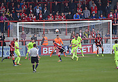 07/05/2016 Sky Bet League Two Morecambe v York City<br /> Chris Doyle heads goalward
