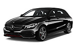 2018 Mercedes Benz CLA Shooting Brake Sport 5 Door Wagon angular front stock photos of front three quarter view