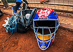 7 October 2017: Chicago Cubs Catcher's Gear lies outside the dugout prior to a game against the Washington Nationals at Nationals Park in Washington, DC. The Nationals defeated the Cubs 6-3 and even their best of five Postseason series at one game apiece. Mandatory Credit: Ed Wolfstein Photo *** RAW (NEF) Image File Available ***