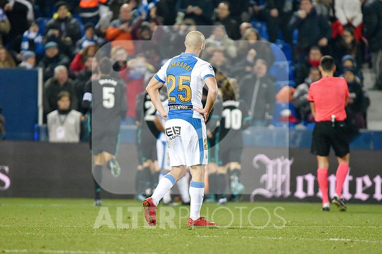 Leganes Nordin Amrabat dejected vs Real Madrid during Copa del Rey  match. A quarter of final go. 20180118.