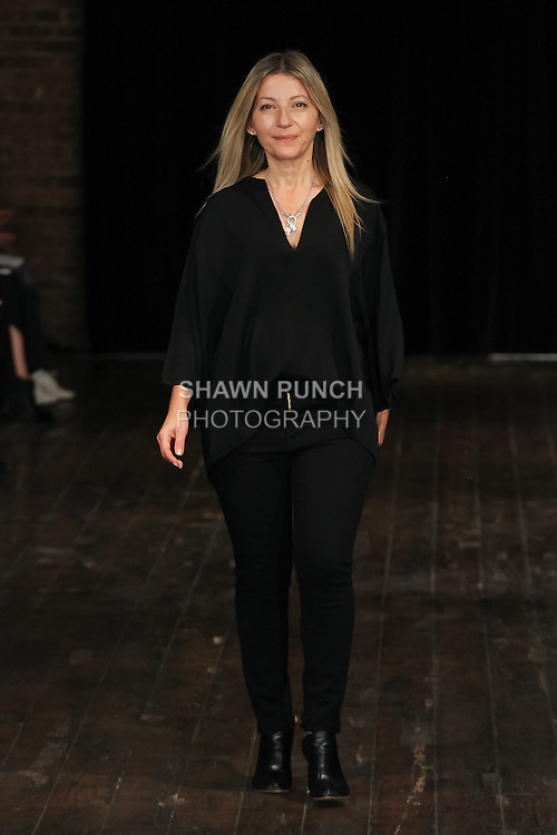 Fashion designer Rita Vinieris walks runway at the close of her Rivini and Alyne Fall 2017 collection fashion show on October 7th, 2016 during New York Bridal Fashion Week.