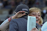 ARCADIA, CA  DECEMBER 28: #7 Hard Not to Love's trainer John Shirreffs gets a congratulatory hug after winning the La Brea Stakes (Grade l) on December 28, 2019 at Santa Anita Park in Arcadia, CA (Photo by Casey Phillips/Eclipse Sportswire/CSM)