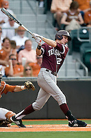 Texas A&M Aggies first baseman Jacob House #27 against the Texas Longhorns in NCAA Big XII Conference baseball on May 21, 2011 at Disch Falk Field in Austin, Texas. (Photo by Andrew Woolley / Four Seam Images)