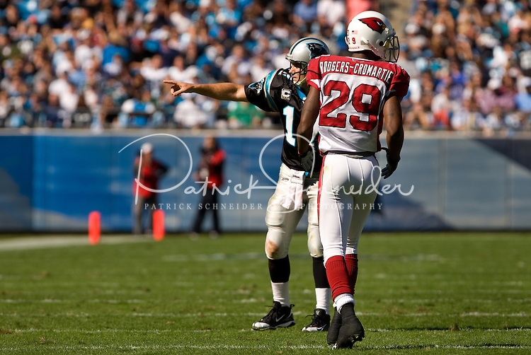 Carolina Panthers quarterback Jake Delhomme (17) lines up as a receiver against Arizona Cardinals defensive back Dominique Rodgers-Cromartie (29) during an NFL football game at Bank of America Stadium in Charlotte, NC.