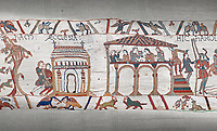 Bayeux Tapestry scene 3 - 4: Harold stops on way to Normandy to recieve blessing at Bosham church and then feasts.