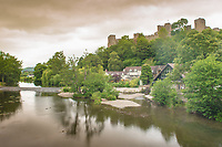 Ludlow Castle viewed from a bridge over the River Teme.