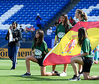 FRISCO, TX - MARCH 11: The SheBelieves Cup is brought onto the pitch during a game between England and Spain at Toyota Stadium on March 11, 2020 in Frisco, Texas.