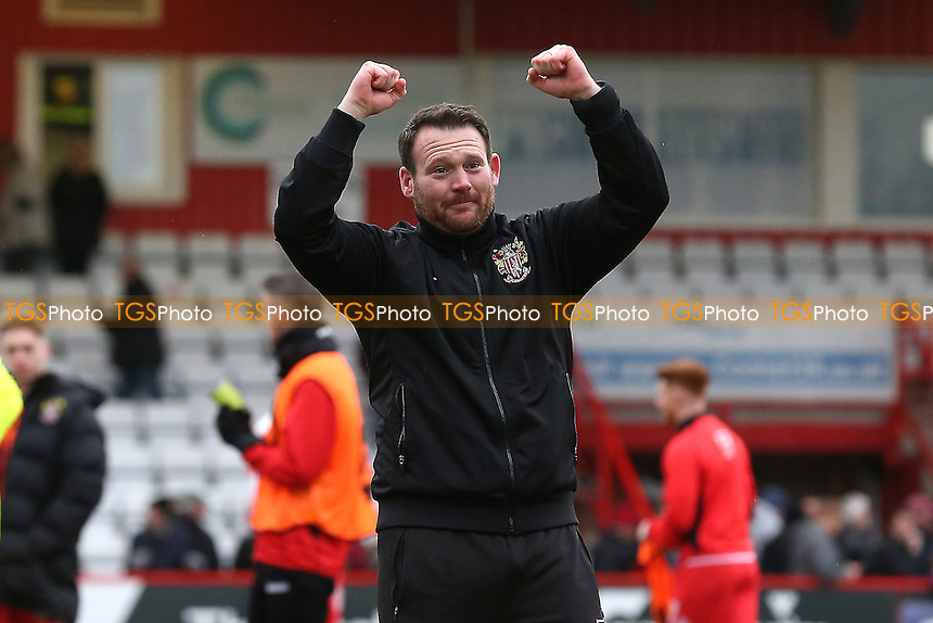Stevenage manager Darren Sarll celebrates during Stevenage vs Notts County, Sky Bet EFL League 2 Football at the Lamex Stadium on 4th March 2017