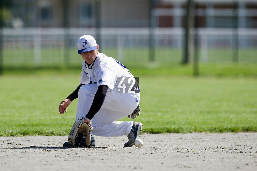 30 April 2008: Mathieu Lapinski of France takes infield practice during the first of seven 2008 MLB European Academy Try-out Sessions throughout Europe, at Stade Kandy Nelson Ball Park, in Toulouse, France. Try-out sessions are run by members of the Major League Baseball Scouting Bureau with assistance from MLBI staff.