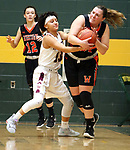 WATERBURY CT. 16 February 2018-021619SV24-#24 Emily Deptula of Watertown High tries to keep the ball from #13 Mikayla Mobley of Sacred Heart High during the NVL girl&rsquo;s basketball tournament in Waterbury Saturday. #12 Nicole DeFeo of Watertown High follows the play, at left. <br /> Steven Valenti Republican-American