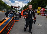 Jun 17, 2017; Bristol, TN, USA; NHRA top fuel driver Mike Salinas during qualifying for the Thunder Valley Nationals at Bristol Dragway. Mandatory Credit: Mark J. Rebilas-USA TODAY Sports