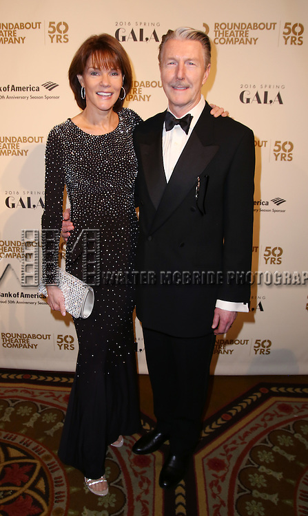Carolyn McCormick and Byron Jennings attends the Roundabout Theatre Company's  50th Anniversary Gala at The Waldorf-Astoria on February 29, 2016 in New York City.