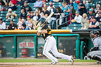 Josh Rutledge (8) of the Salt Lake Bees at bat against the Sacramento River Cats in Pacific Coast League action at Smith's Ballpark on April 20, 2015 in Salt Lake City, Utah.  (Stephen Smith/Four Seam Images)