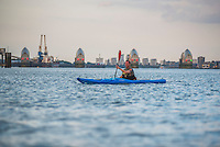 Kayaking near the River Thames Barrier, East London, England