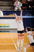 20 November 2008:  New Orleans setter Cassidy Asebroek (11) sets up a shot during the New Orleans 3-1 victory over UALR in the first round of the Sun Belt Conference Championship tournament at FIU Stadium in Miami, Florida.