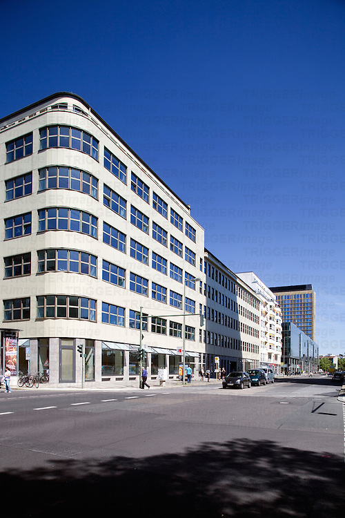 Modern building on a corner of Charlottenstrasse, Berlin, Germany