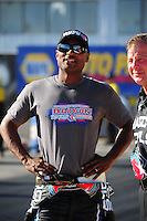 Oct. 14, 2011; Chandler, AZ, USA; NHRA top fuel dragster driver Antron Brown during qualifying at the Arizona Nationals at Firebird International Raceway. Mandatory Credit: Mark J. Rebilas-