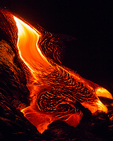 Pele's Dress: In the early morning hours of Valentine's Day 2017, lava flowing downward forms Pele's Dress in the 61g flow field, Hawai'i Volcanoes National Park, Big Island.