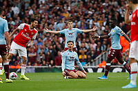 Jack Grealish of Aston Villa appeals for the foul during the Premier League match between Arsenal and Aston Villa at the Emirates Stadium, London, England on 22 September 2019. Photo by Carlton Myrie / PRiME Media Images.