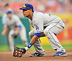 8 September 2011: Los Angeles Dodgers first baseman Juan Rivera in action against the Washington Nationals at Nationals Park in Washington, DC. The Dodgers defeated the Nationals 7-4 to take the third game of their 4-game series. Mandatory Credit: Ed Wolfstein Photo