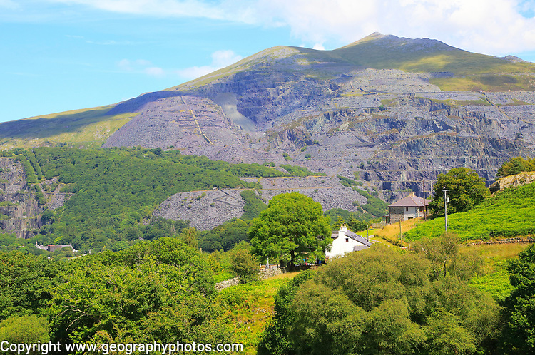 Slate quarries at Llanberis, Snowdonia, north Wales, UK view down to Llanberis