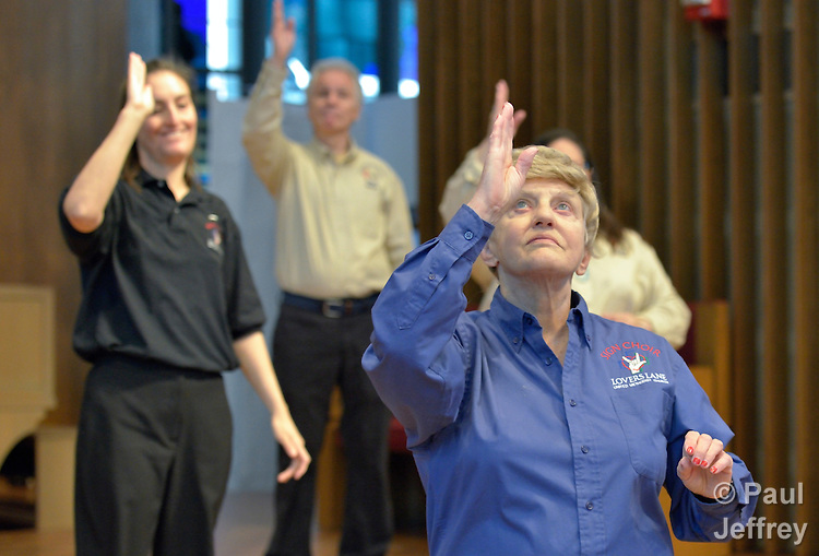 Members of the Deaf Choir as it performs during a worship service at Lover's Lane United Methodist Church in Dallas, Texas.
