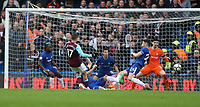 West Ham United's Javier Hernandez scores his side's first goal  <br /> <br /> Photographer Rob Newell/CameraSport<br /> <br /> The Premier League - Chelsea v West Ham United - Sunday 8th April 2018 - Stamford Bridge - London<br /> <br /> World Copyright &copy; 2018 CameraSport. All rights reserved. 43 Linden Ave. Countesthorpe. Leicester. England. LE8 5PG - Tel: +44 (0) 116 277 4147 - admin@camerasport.com - www.camerasport.com