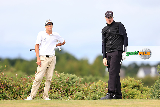 Adrian Jackson (France) and Jordan Logue (Hilton Templepatrick) on the 9th tee during the first round of the Irish U16 Championship at The Heath Golf Club, Portlaoise, Co Laois  Ireland.  19/08/2015.<br /> Picture: Golffile | Fran Caffrey<br /> <br /> <br /> All photo usage must carry mandatory copyright credit (&copy; Golffile | Fran Caffrey)