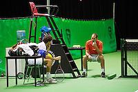 14-02-13, Tennis, Rotterdam, ABNAMROWTT, Practise, Robin Haase with his coach Marcos Gorriz.
