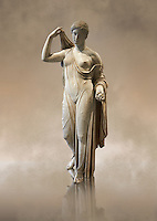 "Aphrodite of Fréjus in the style known as ""Venus Genetrix"". A 1.64m high Roman statue, dating from the end of the 1st century BC to the start of the 1st century AD, in Parian marble, was discovered at Fréjus (Forum Julii) in 1650. It is considered as the best Roman copy of the lost Greek work. Louvre Museum, Paris<br /> <br /> The Venus Genetrix style of statue depicts Aphrodite (Venus to the Romans) as Genetrix ( Latin for Mother). This sculptural type was adopted by the Julia-Claudian dynasty after Julius Caesar claimed that he was defended from Venus herself.  The original lost Greek statue is attributed to Greek sculpture Callimachus who created a Bronze Aphrodite in 420-410. According to Pliny's Natural History showing her dressed in a light but clinging chiton or peplos, which was lowered on the left shoulder to reveal her left breast and hung down in a sheer face and decoratively carved so as not to hide the outlines of the woman's body. Venus was depicted holding the apple won in the Judgement of Paris in her left hand, whilst her right hand moved to cover her head. From the lost bronze original are derived all surviving copies. The composition was frontal, the body's form monumental, and in the surviving Roman replicas its proportions are close to the Polyclitean, an ancient Greek sculptor in bronze of the fifth century BC."