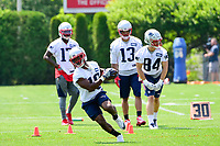 June 13, 2017: New England Patriots wide receiver Andrew Hawkins (16) runs with the ball at the New England Patriots organized team activity held on the practice field at Gillette Stadium, in Foxborough, Massachusetts. Eric Canha/CSM