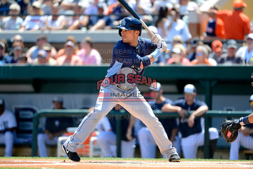 Tampa Bay Rays designated hitter Sam Fuld #5 at bat during a Spring Training game against the Detroit Tigers at Joker Marchant Stadium on March 29, 2013 in Lakeland, Florida.  (Mike Janes/Four Seam Images)