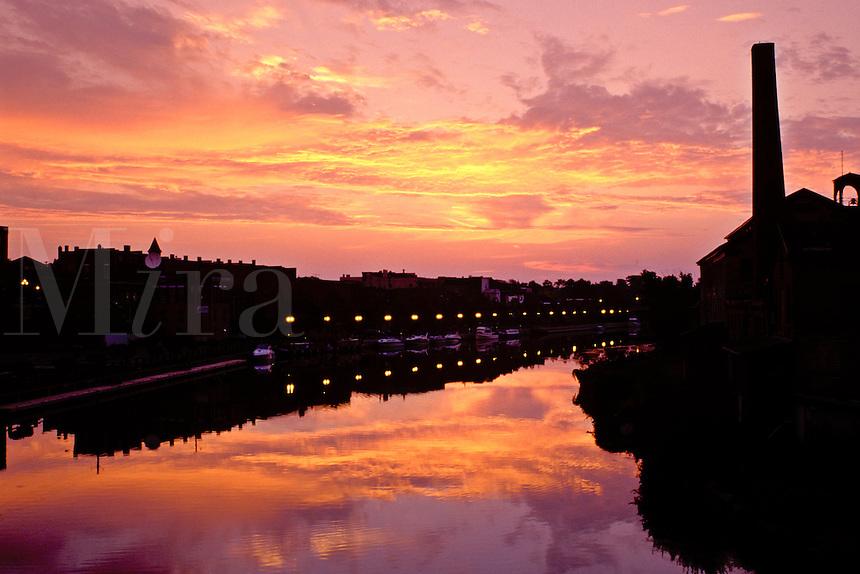 Seneca Falls, canal, Finger Lakes, New York, NY, sunrise, Cayuga-Seneca Canal.