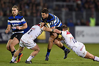 Matt Banahan of Bath Rugby takes on the Leicester Tigers defence. Anglo-Welsh Cup match, between Bath Rugby and Leicester Tigers on November 10, 2017 at the Recreation Ground in Bath, England. Photo by: Patrick Khachfe / Onside Images