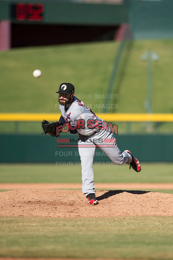 Glendale Desert Dogs relief pitcher Rob Kaminsky (28), of the Cleveland Indians organization, follows through on his delivery during an Arizona Fall League game against the Mesa Solar Sox at Sloan Park on October 27, 2018 in Mesa, Arizona. Glendale defeated Mesa 7-6. (Zachary Lucy/Four Seam Images)
